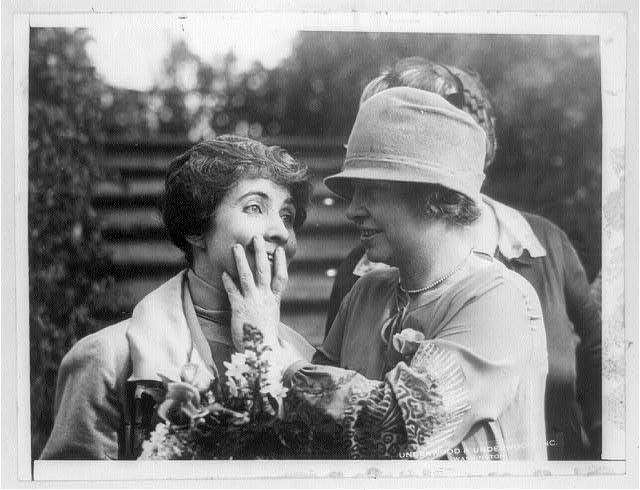 Miss Helen Keller reading Mrs. Coolidge's lips