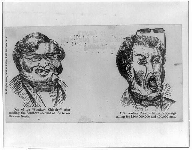 [Anti-Confederacy cartoon showing Southerner's reaction to Lincoln's determination]