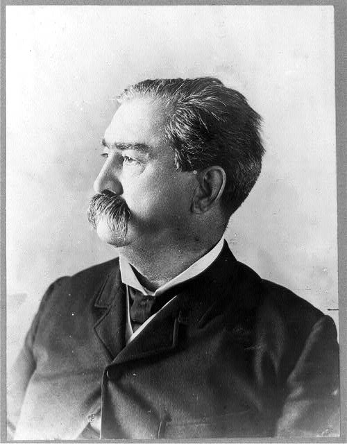 [Daniel Voorhees, senator from Indiana, head-and-shoulders portrait, facing left]