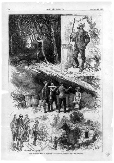"""The moonshine man"" of Kentucky [Composite of 5 scenes of moonshining showing man cutting down tree, man mixing ingredients, moonshiner held captive by 3 men, 3 men on horseback begging for breakfast from framer and boy holding jug by still house]"
