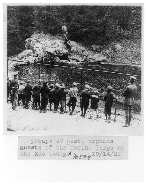 [Groups of District orphans, guests of the Marine Corps, watching seals being fed at the National Zoo, Washington, D.C.]