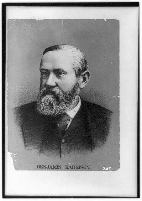 [Benjamin Harrison, head-and-shoulders portrait, facing slightly left]