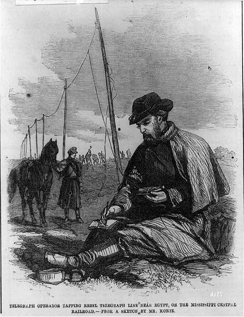Rebel telegraph operator near Egypt, on the Mississippi Central R.R.