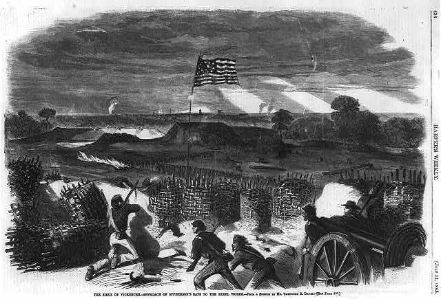 The seige of Vicksburg - Approach of McPhearson's saps to the rebel works