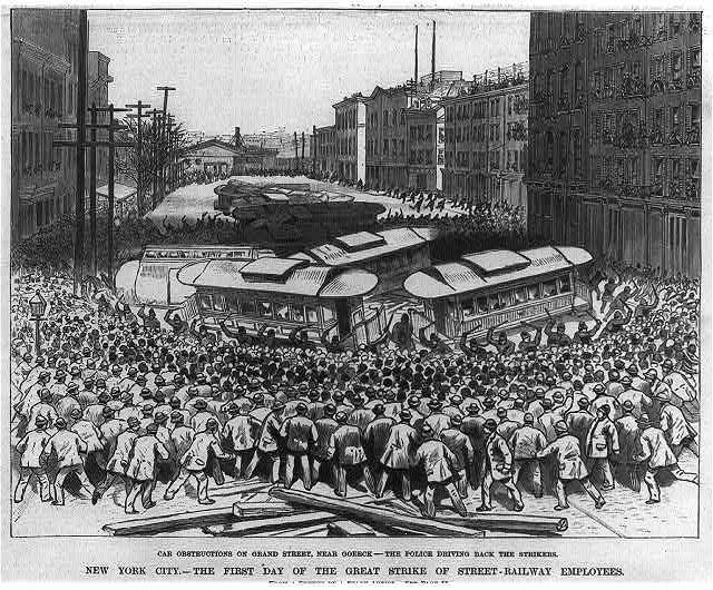 N.Y. City--The first day of the great strike of street railway employees--Car obstruction on Grand St., near Goerk--The police driving back the strikers