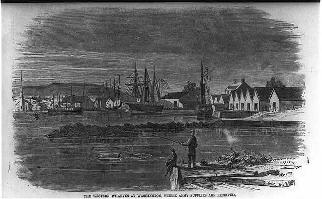 The Western wharves at Washington where Army supplies are received