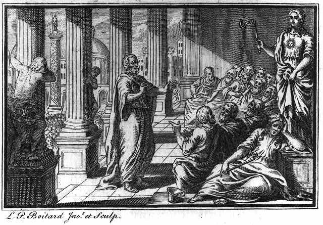 [Socrates] standing before seated group in temple portico; large crowd behind him
