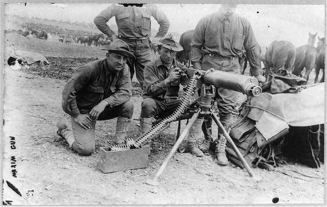 U.S. Army 1911 maneuvers in Texas: Maxim machine gun & crew