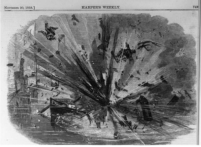 Explosion of the propeller PETROL, on the North River, [opposite the foot of Jay Street, New York City, Nov 6, 1858]