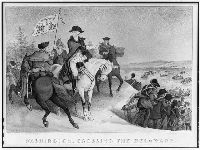 Washington crossing the Delaware: on the evening of Dec 25th. 1776, previous to the battle of Trenton