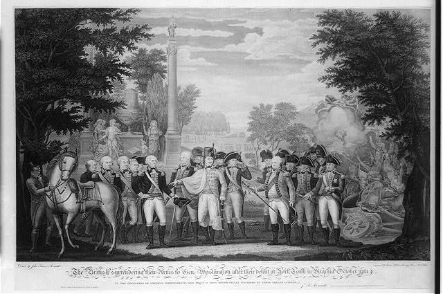 The British surrendering their arms to Gen. Washington after their defeat at YorkTown in Virginia October 1781