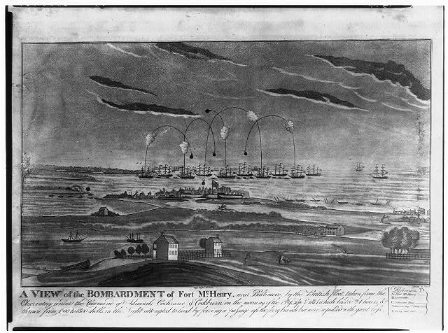 A view of the bombardment of Fort McHenry, near Baltimore, by the British fleet, taken from the obsesrvatory under the command of Admirals Cochrane & Cockburn, on the morning of the 13th of Sept. 1814 ...