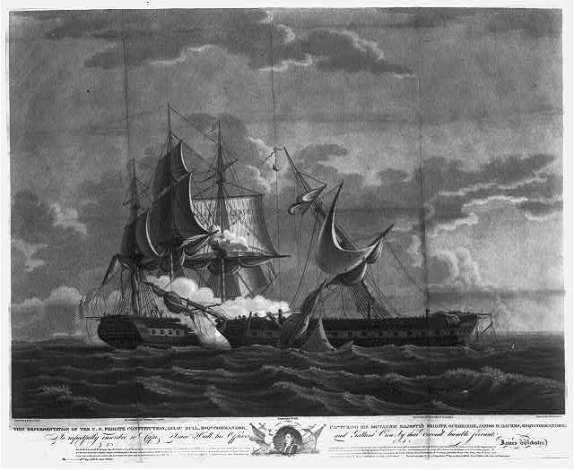 This representation of the U.S. Frigate Constitution, Isaac Hull, Esqr., commander, capturing his Britannic Majesty's frigate Guerriere, James R. Dacres, Esqr., commander; ...