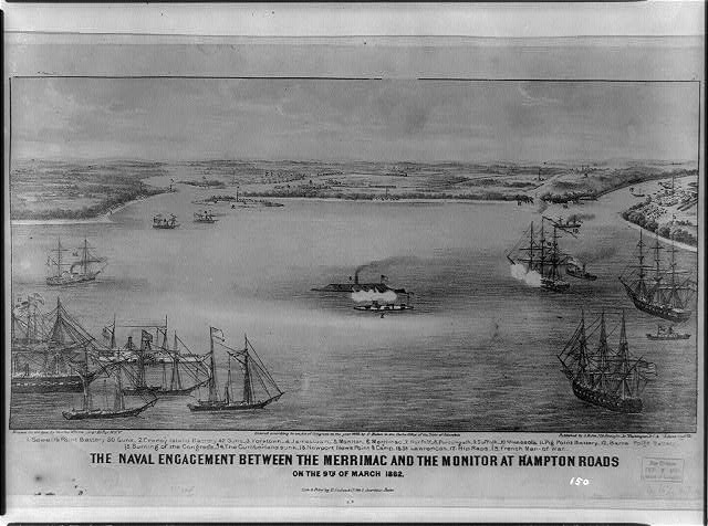 The naval engagement between the Merrimac and the Monitor at Hampton Roads - on the 9th of March 1862