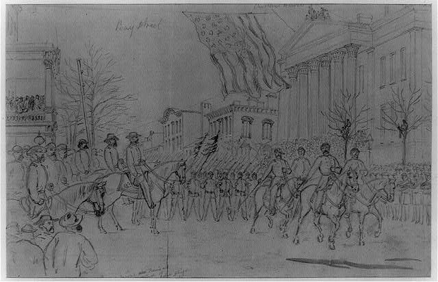 Gen Sherman reviewing his army in Savannah before starting on his new campaign