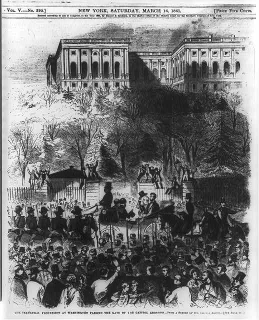 The inaugural procession at Washington passing the gate of the Capitol grounds - from a sketch by our special artist