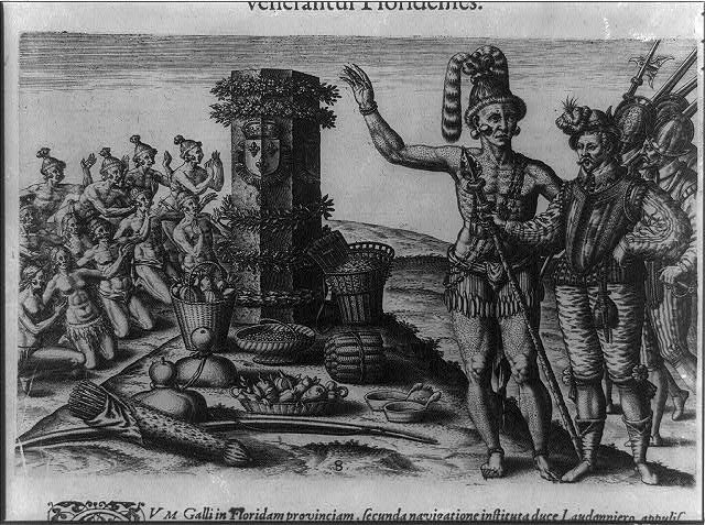 The Natives of Florida worship the column erected by the commander on his first voyage