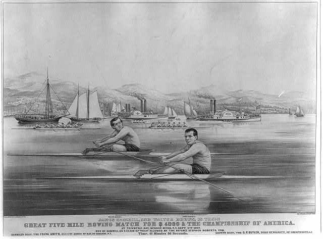 James Hammill, and Walter Brown, in their great five mile rowing match for $4000 & the championship of America: at Newburg Bay, Hudson River, N.Y. Sept. 9th 1867