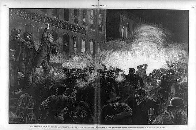 The Anarchist Riot in Chicago - A Dynamite Bomb exploding among the police [McCormick Strike, Haymarket Square]