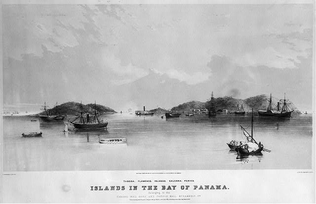 Islands in the Bay of Panama. Belonging to the Panama Railroad and Pacific Mail Steamship Co. Taboga. Flamenco. Islanao. Calebra. Perico.