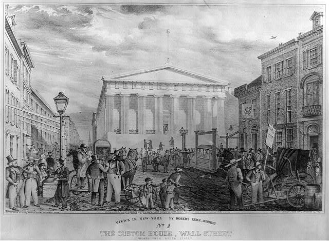 Views in New York by Robert Kerr, architect. No. 1, the Custom House, Wall Street viewed from Broad Street