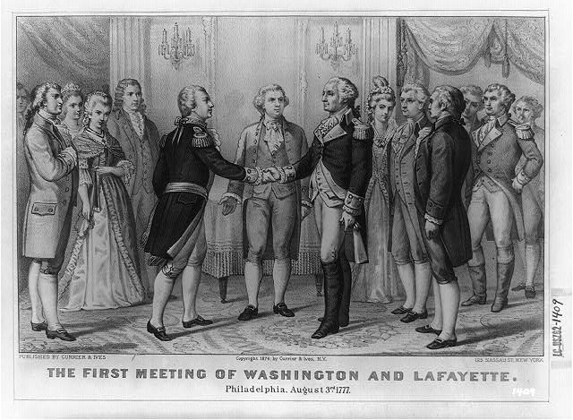 The First meeting of Washington and Lafayette, Philadelphia, Aug. 3rd, 1777