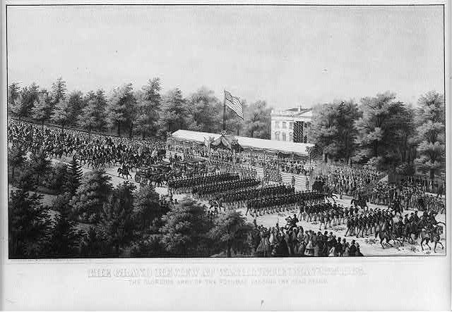 The grand review at Washington May 23th 1865 The glorious Army of the Potomac passing the head stand /