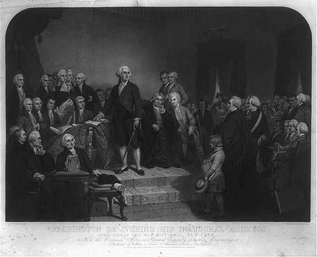 Washington delivering his inaugural address April 1789, in the old city hall, New-York