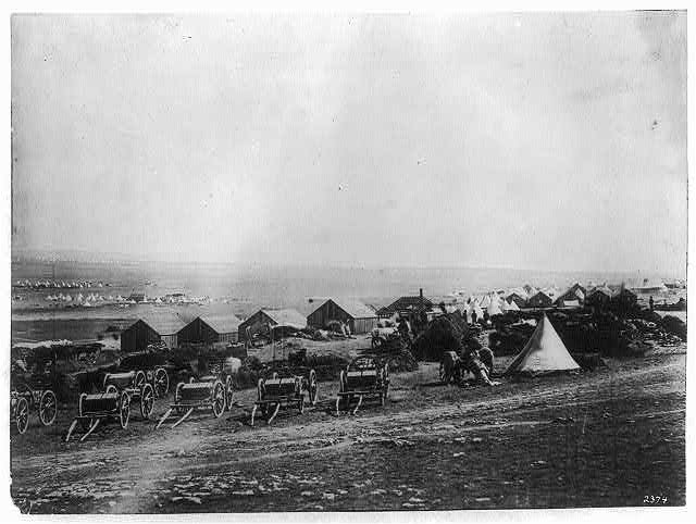 Artillery waggons [i.e., wagons], view looking towards Balaclava