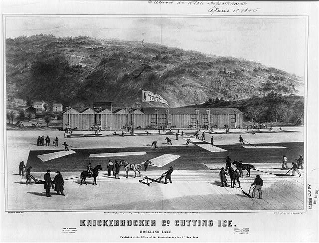 Knickerbocker Co. cutting ice. Rockland Lake