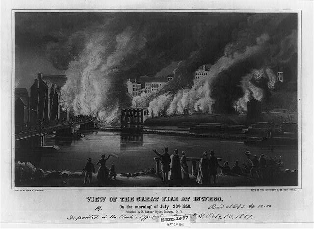View of the great fire at Oswego, on the morning of July 30. 1850