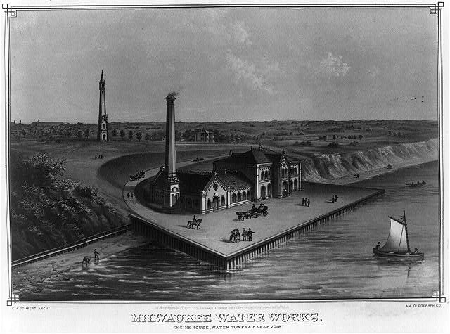 Milwaukee water works. Engine house, water tower & reservoir