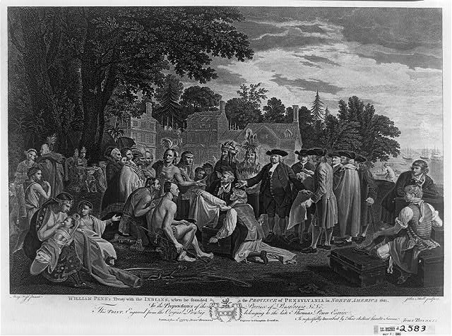 William Penn's treaty with the Indians, when he founded the province of Pennsylvania in North America 1681