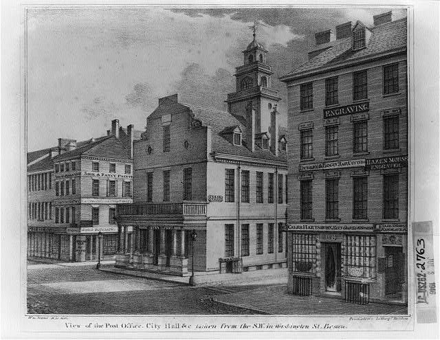 View of the post office, city hall &c. taken from the S.W. in Washington St. Boston