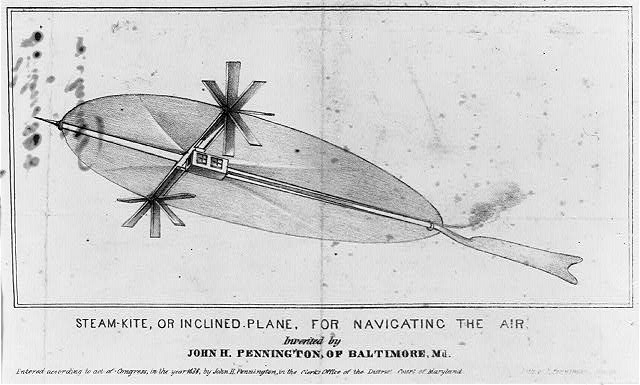 Steam-kite, or inclined plane, for navigating the air, invented by John H. Pennington, of Baltimore, Md.