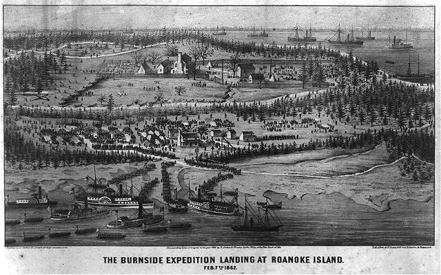 The Burnside expedition landing at Roanoke Island - February 7th 1862
