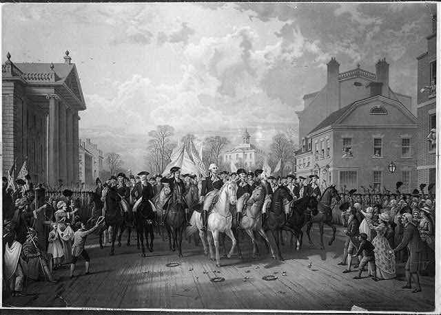 """Evacuation day"" and Washington's triumphal entry in New York City, Nov. 25th, 1783"