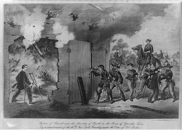 The capture and shooting of Booth in the barn of Garath's farm