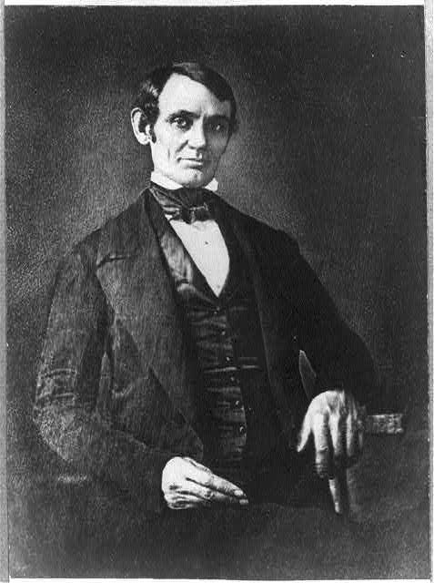 [Abraham Lincoln, Congressman-elect from Illinois. Three-quarter length portrait, seated, facing front]