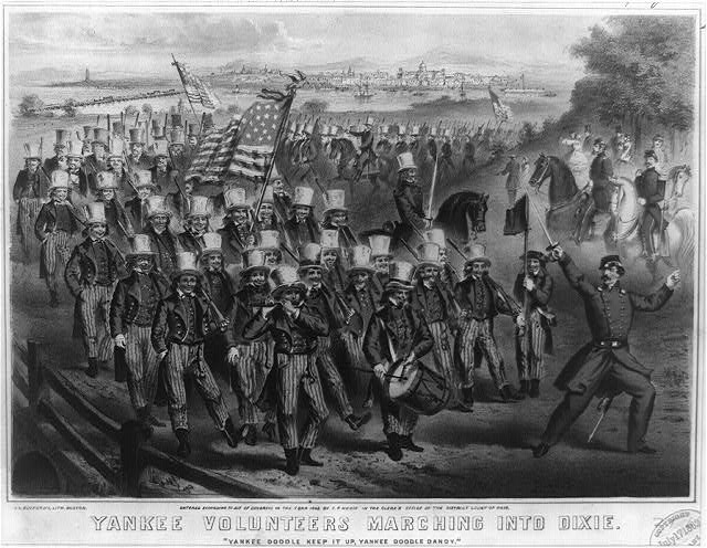 Yankee volunteers marching into Dixie