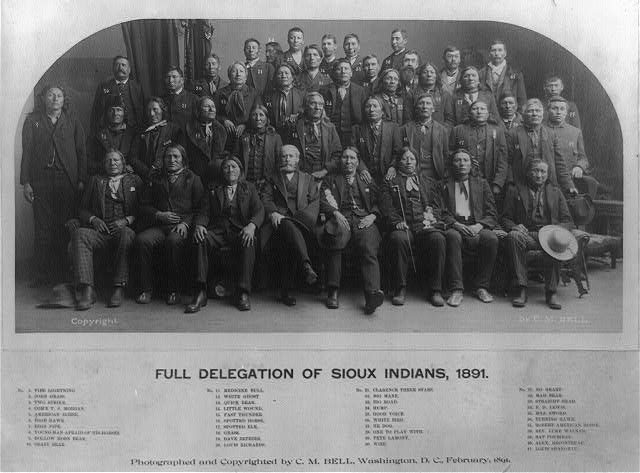 Full delegation of Sioux Indians, 1891