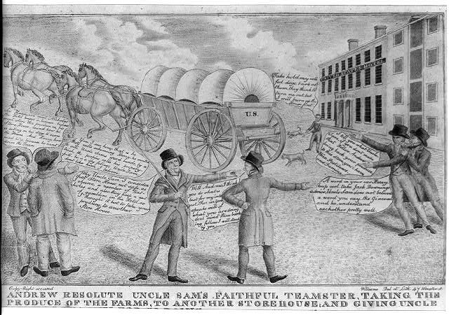 Andrew resolute Uncle Sam's faithful teamster, taking the produce of the farms, to another storehouse; and giving Uncle Sam his, reasons for so doing