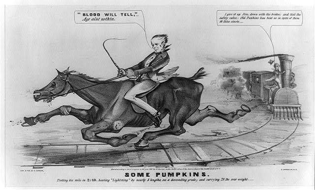"Some Pumpkins: trotting his mile in 2:10. beating ""Lightning"" by nearly 5 lengths, on a descending grade; and carrying 25 lbs over weight"