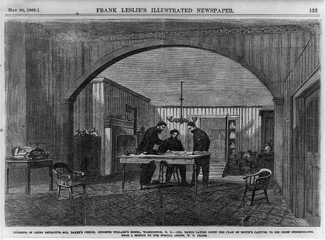 Interior of Chief Detective Col. Baker's office, opposite Willard's Hotel, Washington, D.C. - Col. Baker laying down the plan of Booth's capture to his chief subordinates