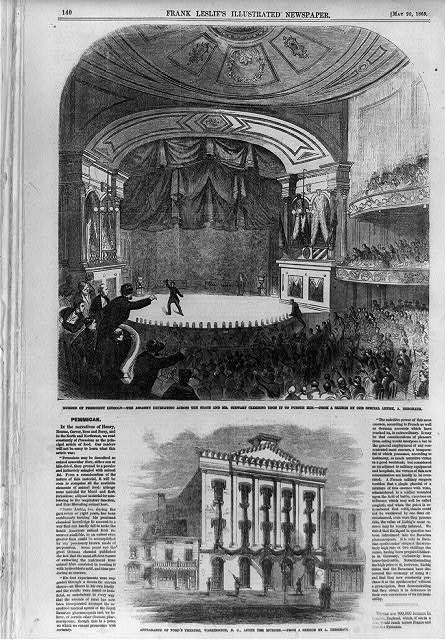 Murder of President Lincoln; The assassin retreating across the stage and Mr. Stewart climbing upon it to pursue him; Appearance of Ford's Theatre, Washington, D.C. after the murder