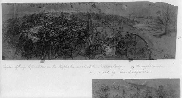 Capture of the fortifications on the Rappahannock at the Railway Bridge--by the right wing commanded by Genl. Sedgwick