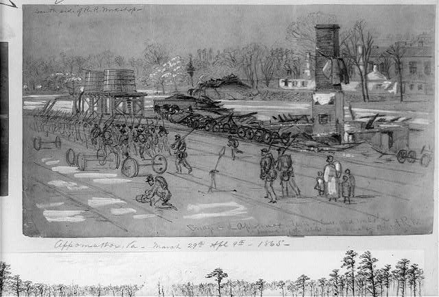 Bridge on the Appotomax [sic]--Train of Cars and workshops burned by the rebels on evacuating Petersburg