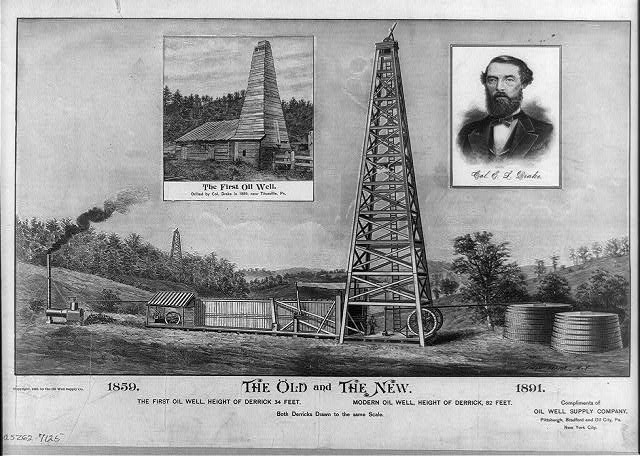 The old and the new., the first oil well..., modern oil well...