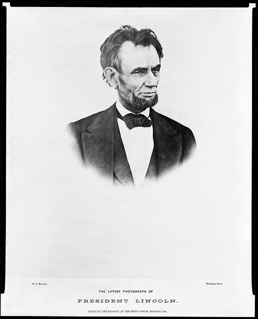 The latest photograph of President Lincoln - taken on the balcony at the White House, March 6, 1865