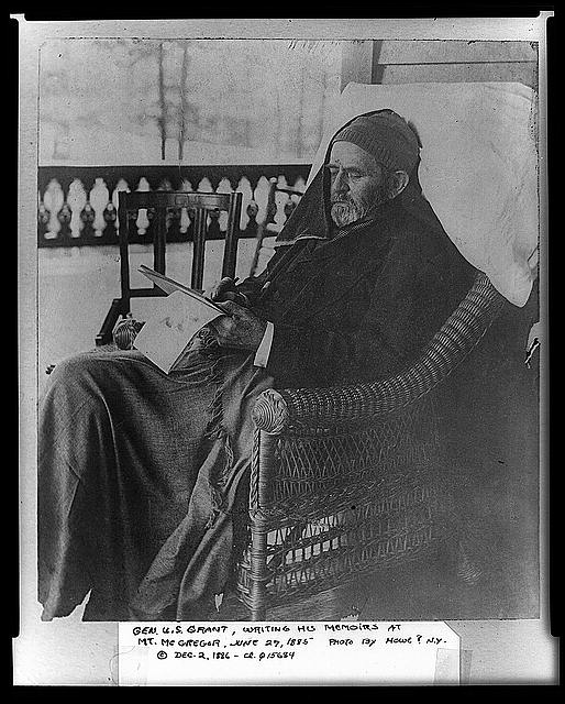 Gen. U.S. Grant writing his memoirs, Mount McGregor, June 27th, 1885